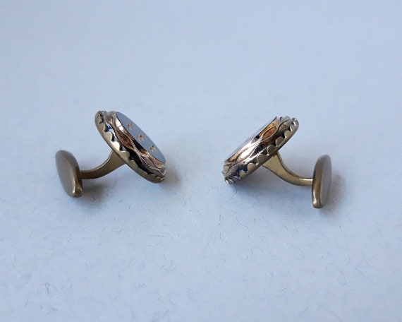 two sets of shabby vintage cufflinks copper cuff links and fishing cuff links  man accessory