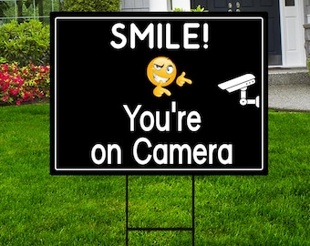 """Smile You're On Camera Yard Sign 24"""" x 18"""" - Coroplast Visible Text Long Lasting Rust Free Video Surveillance Yard Sign with Metal H-Stake"""
