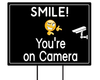 """Smile You're On Camera Yard Sign 18"""" x 12"""" - Coroplast Visible Text Long Lasting Rust Free Video Surveillance Yard Sign with Metal H-Stake"""