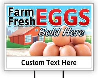 Farm Fresh Eggs for Sale Custom Personalize Personalized Text Message 12 x 18 inch Aluminum Sign