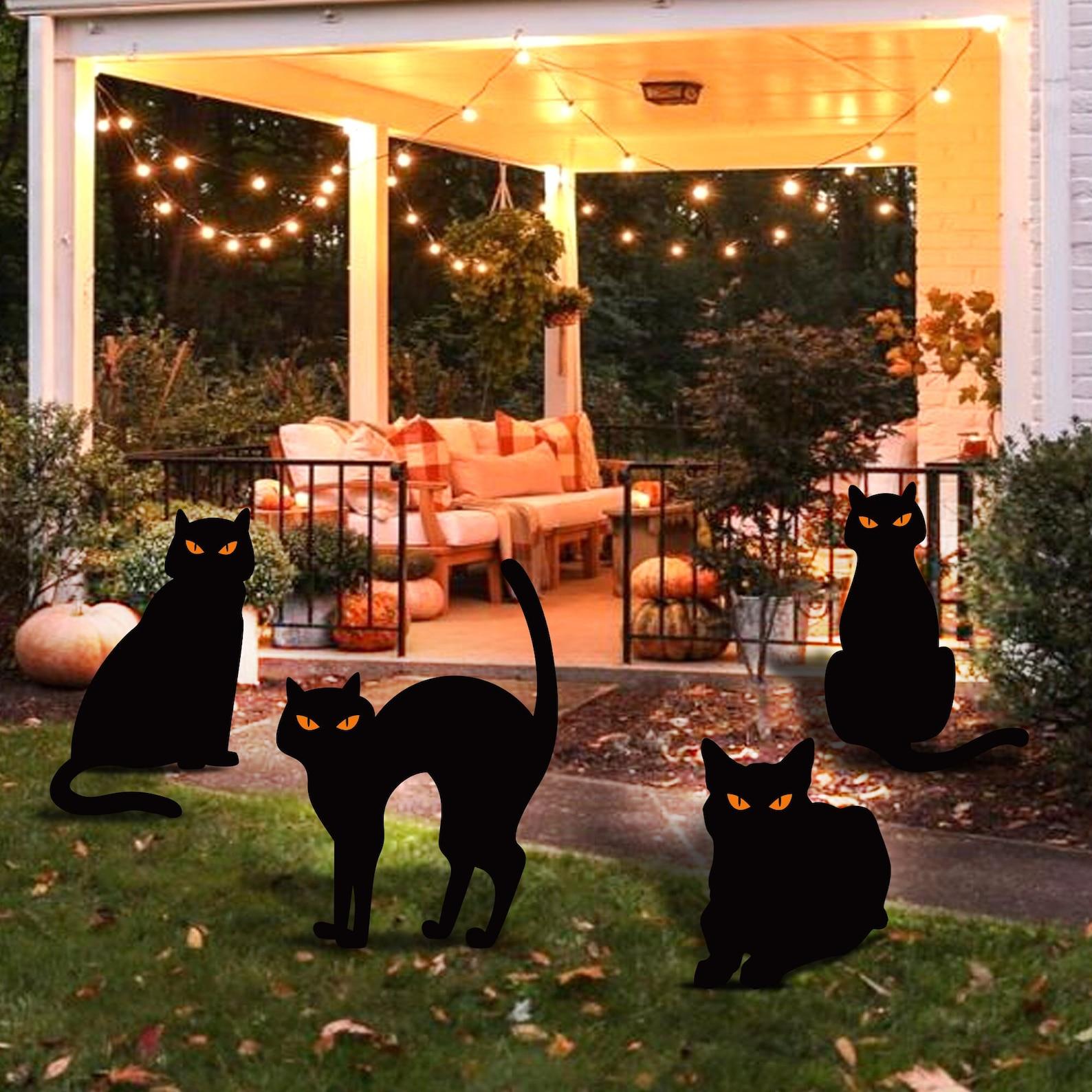 4 Black Cat Silhouette Yard Sign Cutouts