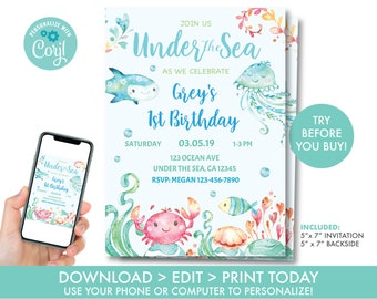 Under The Sea Birthday Invitation Printable Boys Party Decorations Instant Download U1