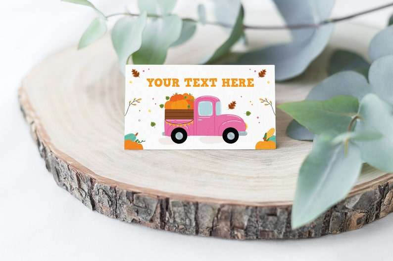 PT1 Editable Pumpkin Food Labels Pumpkin Truck Birthday Party Place Card Fall Harvest Autumn Tent Card Girl Pink Food Tent Instant Download