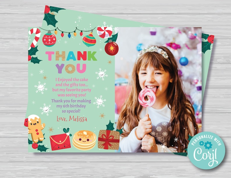 Christmas Birthday Thank You Card With Photo Christmas Pancakes and Pajamas Thank You Card Green and Red Thank You Card Instant Download PJ1