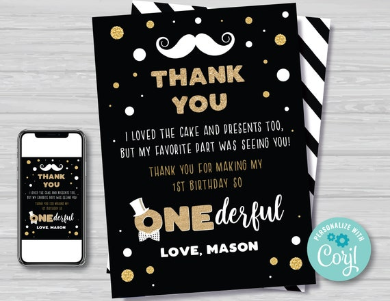 Mr Onederful Thank You Card with Photo Boy/'s First Birthday Bow Tie Little Man Thank You Card Black and Gold Editable Instant Download MR1