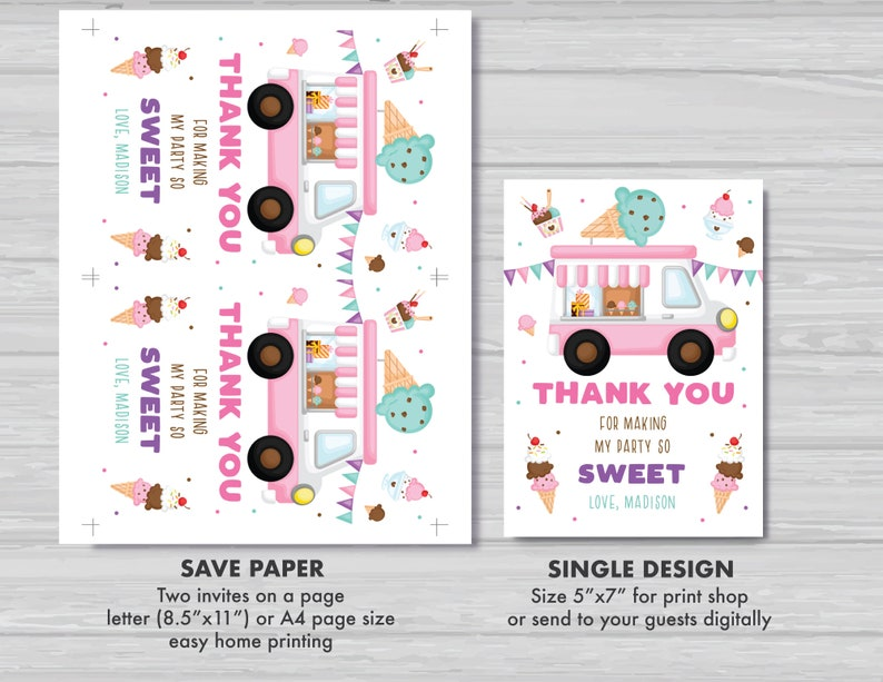 EDITABLE Ice Cream Truck Thank You Card Ice Cream Truck Party Ice Cream Birthday Thank You Card Ice Cream Party Instant Download IT1