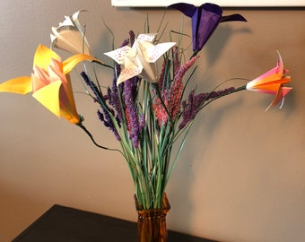 Origami flowers etsy origami flower arrangement spotted flowers in orange vase mightylinksfo