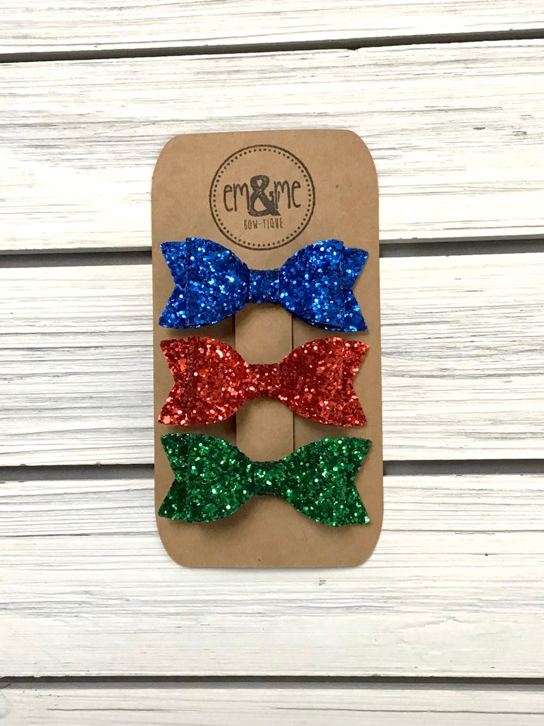 Blue and green glitter hair bow set red