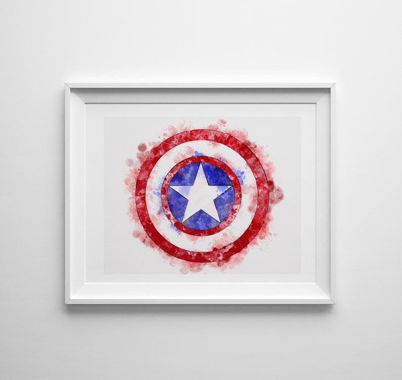 Avengers Infinity War Captain America Shield Inspired Watercolor Print