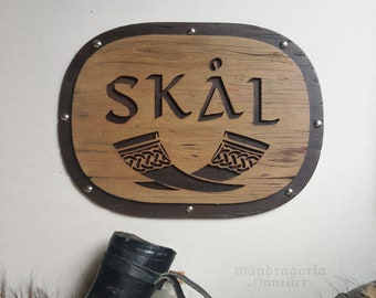 Skål bar sign, viking home decor, skal norse gift, drinking horn wall art, wood decor for him, engraved and cut mdf wood, canteen decor