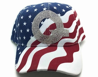 QAnon Rhinestone Baseball Hat Patriotic Bling Q Red White Blue Flag  Campaign Rally Gear QAnon Gifts 13f568e7e4d