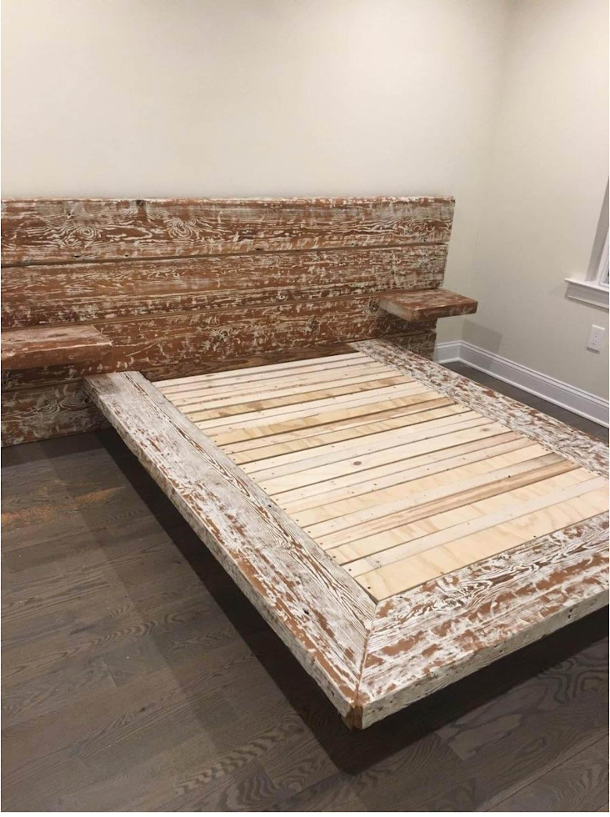 Tatu Platform Bed Made from Reclaimed wood Rustic Modern Bed