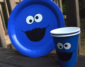 Sesame Street Birthday Party Face 20 Plates And 24 Cups Elmo Cookie Monster Decorations Ideas Inspired 1st Food Drink Theme