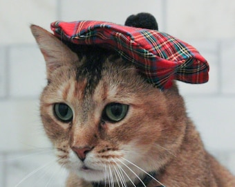 Scottish Cat Hat - Red Tam Beret for your Cat FREE SHIPPING