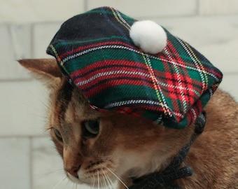 Scottish Cat Hat - Green Tartan Tam Plaid Beret for your Cat FREE SHIPPING