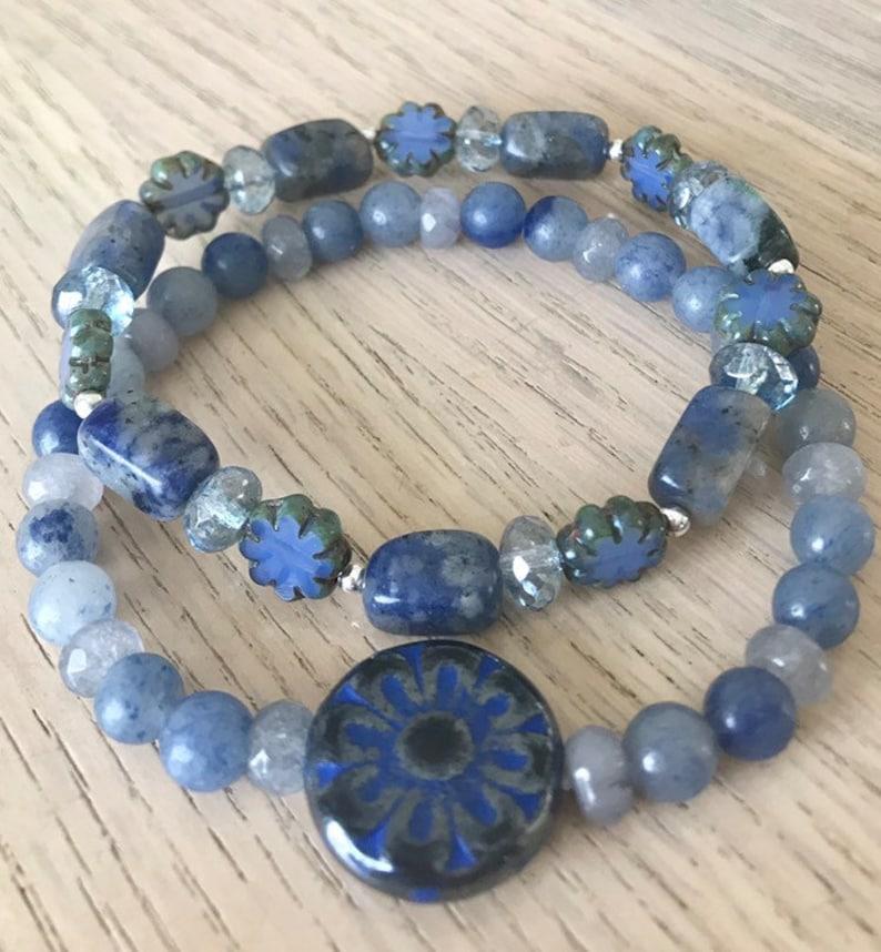 Blue gemstone stack Sodalite and Czech glass bracelet set Mandala flower bracelet in shades of blue