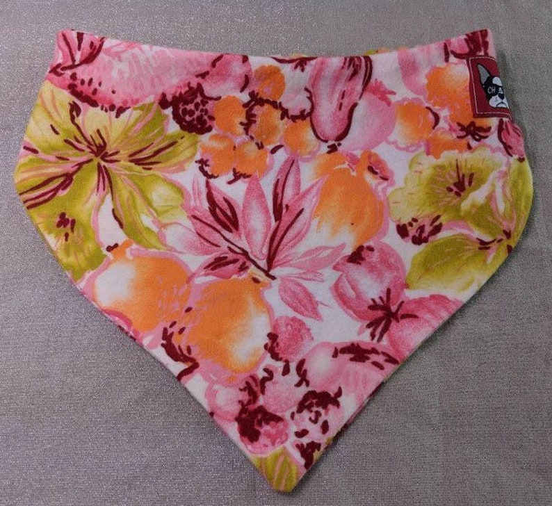 Spring floral Dog or Cat Bandana Unique Custom No Tie Design Handmade by Critter Harmony from Reclaimed Fabric Limited Edition Pet Accessory