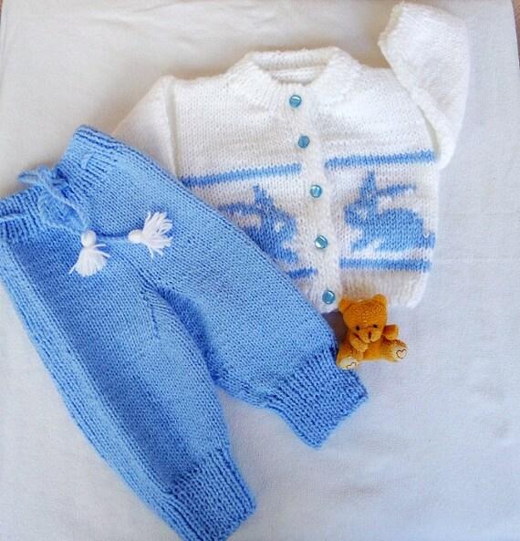 0441b339f White   Blue baby jacket and pantsRabbit setSoft knit baby