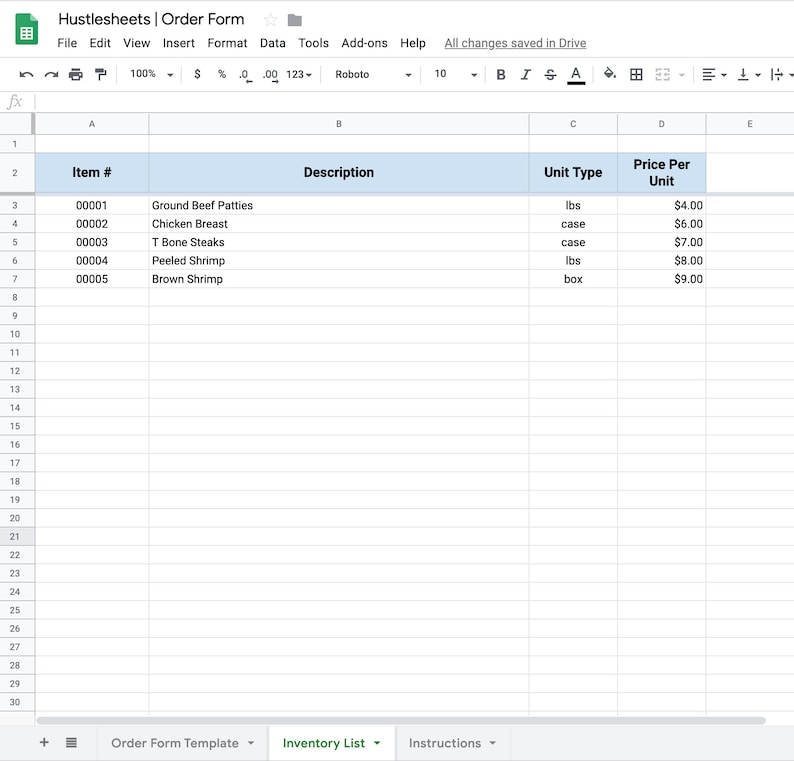 Purchase Order Form Template for Google Sheets and Excel ...