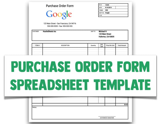 Purchase Order Form Template For Google Sheets And Excel Etsy