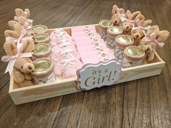 It S A Girl Party Favors Tray Baby Welcome Tray Baby Shower Tray Party Favors Variety Tray Teddy Bear Favors Crochet Favors Chocolate