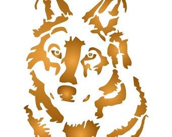 wolf head stencil etsy