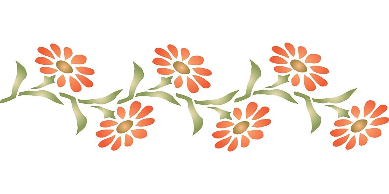The Artful Stencil FLOWER BUDS  BORDER STENCIL