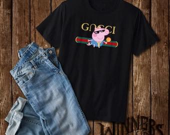 7b4696272 Thug Life Peppa Pig Gncci Parody Funny Graphic Tee Shirt Custom Design S-2XL