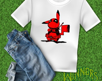de23fcba PikaPool Inspired by Deadpool Pikachu Cute Funny Humor Graphic Tee Custom  Design S-2XL