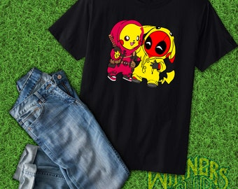 5b88e39c Deadpool Pikachu Cute Funny Humor Graphic Tee Custom Design S-XL