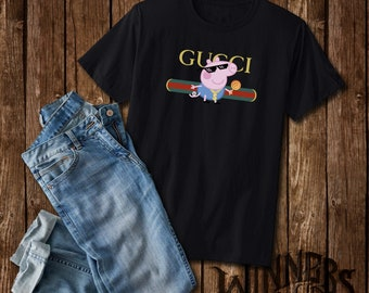 f02e4a0f Thug Life Peppa Pig Inspired by Gucci Parody Funny Graphic Tee Shirt Custom  Design S-2XL