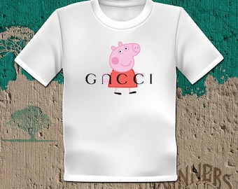 4c00da1bef9dd Peppa Pig Inspired by Gncci Parody Graphic Tee Custom Design S-2XL White