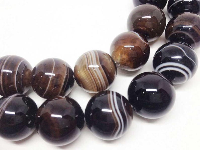 ~ BR2429 round beads wholesale beads 15 12 length natural beads semi precious stones 1 strand 18mm Black Sulemani Agate Beads