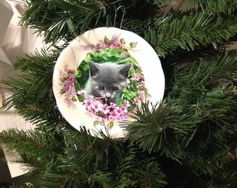 Harry Potter inspired Umbridge cat plate Christmas ornament