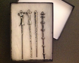 Harry Potter inspired Wand set Christmas ornaments Hermione Harry Dumbledore voldemort with gift box