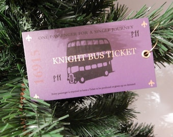 Harry Potter inspired ornament Knight Bus Ticket