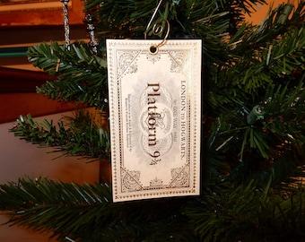 Harry Potter Inspired platform 9 3/4 Hogwarts Express Ticket Christmas Ornament