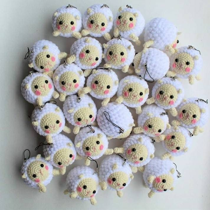 Handmade Adorable Fluffy Sheep or Lambs Lanyard with Removable Key Chain End 1 wide