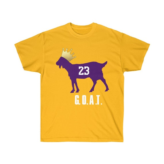 new style 33221 ea64a Los Angeles Lakers Lebron James GOAT Greatest Of All Time Goat King Unisex  Tee Shirt Size S-5XL Gold Yellow