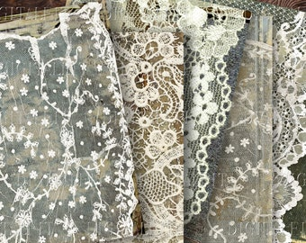 Lace & Old Book Covers Junk Journal Printable Pages,  5 Vintage Lace Printable Paper, PDF