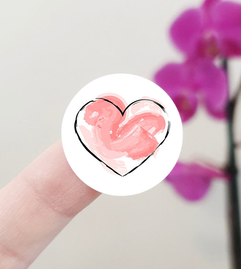 paper products label sheet sweet stationery small business packaging wedding favor decor Cute watercolor heart round planner stickers