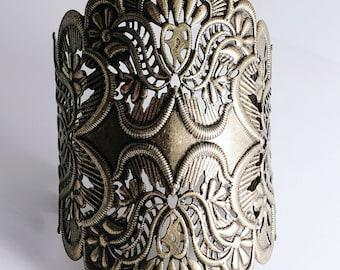 Deep Burgundy Wine Brocade Damask on Silver Cuff Bracelet Handmade Jewelry by theshagbag on Etsy
