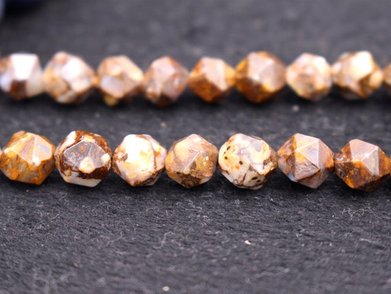 Wildhorse Jasper Beads 6mm beads 15 inches per strand Star Cut Faceted Nugget Beads