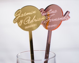 Wedding Stirrers, Personalized Message Stirrer, Couple Names Mirror Gold Acrylic Stirrers, Baby Shower Drink Stirrers, Birthday Drink Charms