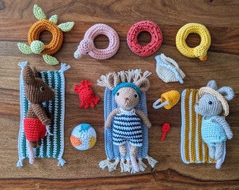 The Mice Family : bundle basic mouse + beach accessories - crochet pattern
