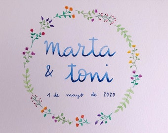 Watercolor Wedding, Handmade Watercolor, Watercolor Crown Flowers, Original Watercolor, Flower Wreath, Custom Watercolor, Personalized Gift