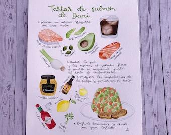 Recipe illustration, ilustration recipe, original watercolor, recipe book, watercolor recipe, watercolor food, watercolor food, personalized gift