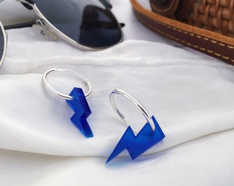 Silver earrings, gold earrings, handmade earrings, methacrylate earrings, jewelry, hoop earrings, lightning earrings, blue earring