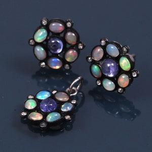 Handmade Antique 925 Sterling Silver Rose Cut Diamond Ethiopian Opal Coral Black Rhodium Stud Earring Women Fine Jewelry Wedding Gift