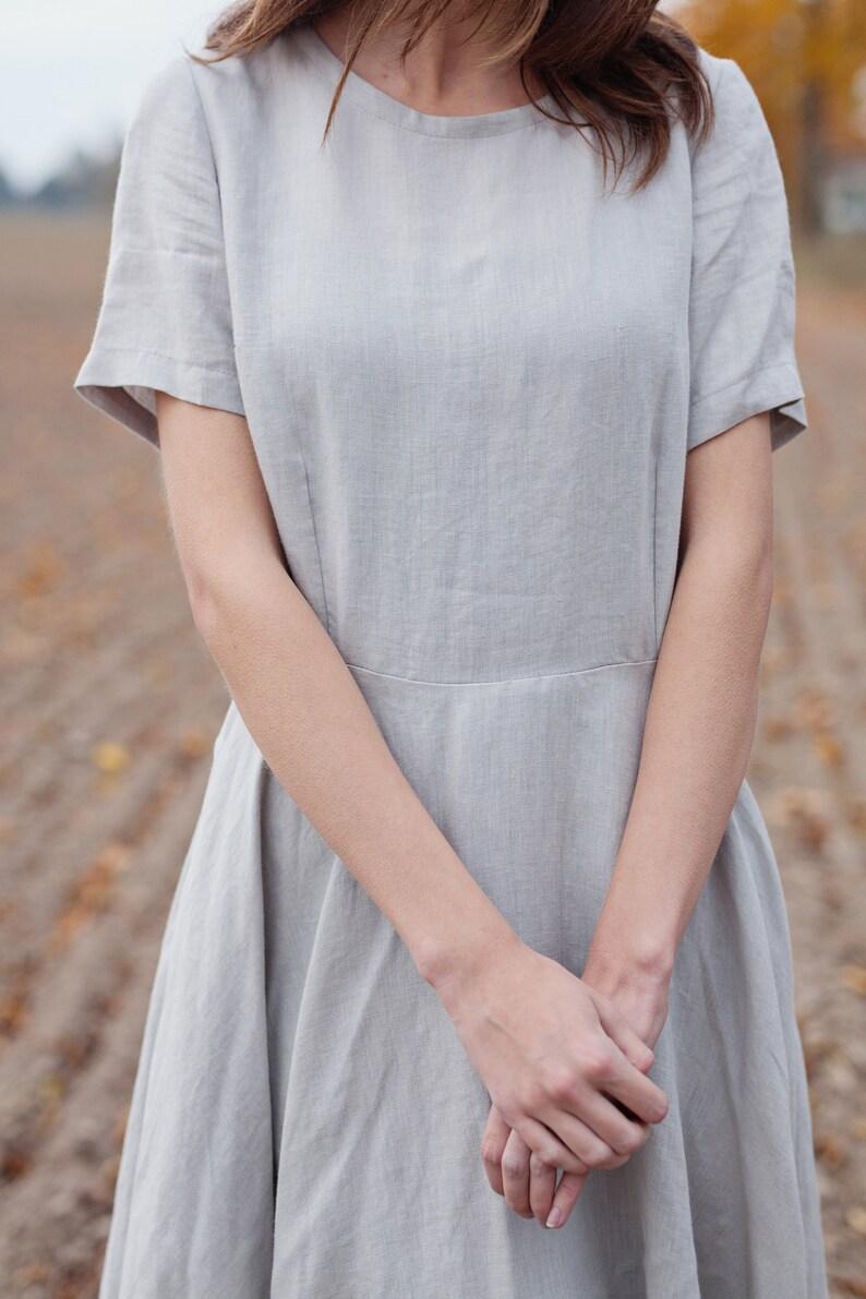 Chic Dress Light Gray Linen Dress Spring Dress Simple Gray Dress Organic Linen Classic Linen Dress Summer Dress Fitted Linen Dress